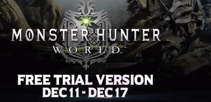 Free Monster Hunter World Trial Available From 11 To 17 December
